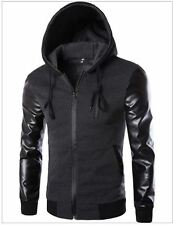 Men's Hooded PU Leather Sleeve Design Fashion Casual  Jacket