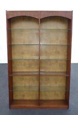 Vintage Mid-Century Modern Six Tier Glass Shelf Walnut Veneer Bookcase