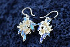 Plumeria Flowers Earrings. 18k Gold Vermeil. Abalone Paua Shell.