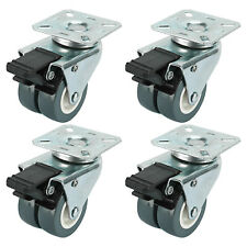 Dual Wheel Heavy Duty Swivel Plate Locking Casters 551 LBs, 4 Pack-Silver Gray