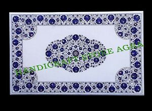 48''x30'' Lapis Mosaic Floral Inlay Art Marble Coffee Table Top Home Decors