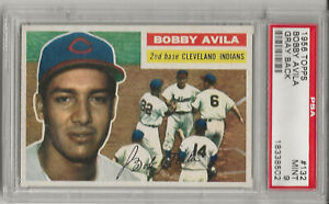1956 TOPPS #132 BOBBY AVILA, PSA 9 MINT, GRAY BK, HIGHEST GRADED, NONE HIGHER
