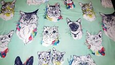 CATS Fabric Fat Quarter Cotton Craft Quilting MEOW WOW WOW Alexander Henry Mint