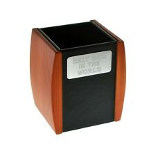 Wood and Leather Engraved Best Dad in the World Desktop Pen Pot Y-GSX9815-BD