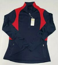 NEW Antigua Womens Navy Blue Red Delta 1/4 Zip Long Sleeve Pullover Size S Small