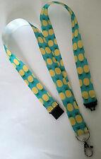 Pineapples on blue ribbon lanyard + safety clip ID badge holder teacher gift