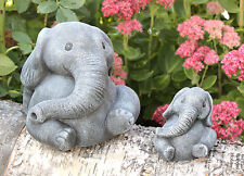 FIGURINE EN PIERRE ELEPHANTS Set Statue d'ornement de jardin