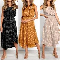 Women's Summer Holiday Polka Dots Midi Dress Ladies Slim Casual Swing Sun Dress