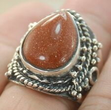 GREAT GOLD SAND STONE GEMSTONE SILVER RING JEWELRY SIZE 10 H267