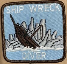 Ship Wreck Diver Patch Embroidered vintage diving scuba 3X3 adventure ocean