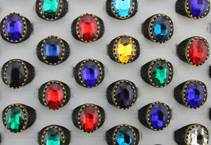 Wholesale Lots 50pcs Mens Jewelry Alloy Black P Oval Glass Rings Party Gifts