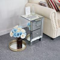 Modern Mirrored 2 Drawers Nightstand End Table Bedroom Storage Sofa Side Bedside