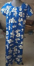 Ui Maikai Vintage HAWAIIAN Hostess Maxi Dress Blue w/white flowers Cotton Sz L