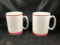 Pair of Vintage PFALTZGRAFF White Red Stripe Coffee Cups Mugs 10-002 MAXIM