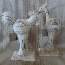 Rooster and Horse Antq White on Iron Distressed Shabby Chic finish 37and 21cm ht
