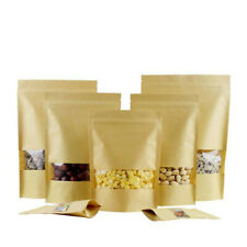 10X Kraft Paper Bag Seal Packaging Stand Up Window Zip Lock Pouch Candy Food Bag