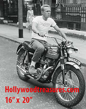 "Steve McQueen~Triumph~Motorcycle~Photo~Motocross~Poster~16"" x  20"""