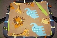Handmade Taggie Security Blanket Baby Lovey Yellow Minky Dots Jungle Animals
