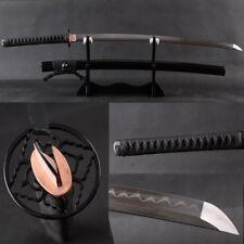 Clay Folded Steel Katana Japanese Samurai Swords Sharp Blade No Blood Slot#3251