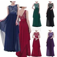 Women Long Evening Party Ball Prom Gown Formal Bridesmaid Cocktail V-back Dress