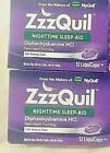 ZzzQuil Nighttime Sleep Aid LiquiCaps 12 Liquicaps each (2 Boxes) EXP 08/22