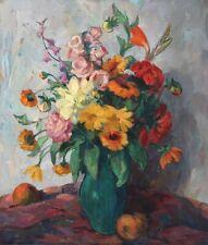 Ölgemälde Ölbild alt antik Romantik Impressionismus Blumen Obst Stillleben 1900