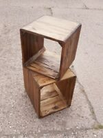 Rustic Wall Cube Shelves | Floating Solid Wood Square Shelf | Funky Chunky S/2