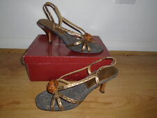 Bronze and gold strappy leather evening shoes / sandals, ROBERTO VIANNI, UK 5