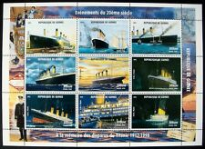1998 MNH GUINEA TITANIC STAMPS SHEET CRUISE SHIP BOAT LIFEBOAT OCEAN LINER SINK