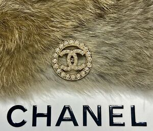 CHANEL CC Pearl Gold button STAMPED Round metal buttons 27mm Large