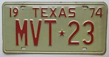 Texas 1974 License Plate NICE QUALITY # MVT-23