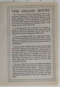 1914 Japan Japanisch Touristen Werbeanzeige Der Grand Hotel Yokohama Autoreifen