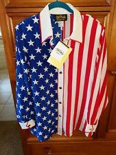 Bob Mackie Silk American Flag Blouse Large Red White Blue NWT Never worn!