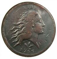 1793 Flowing Hair Wreath Cent 1C - ANACS VF Details / Net F12 - Rare Coin!