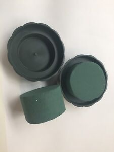 10 X Oasis Cylinders For Fresh Flowers And 10 X Round Dishes Trays