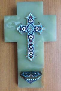 Superb French Antique Champlevé Enamel & Onyx Christian Cross & Holy Water Stoup