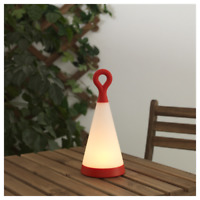 "Ikea SOLVINDEN LED Solar-Powered Table Lamp Triangle White Red 12"" 404.221.02"