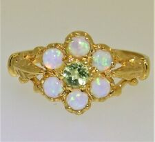 PERIDOT OPAL FLOWER CLUSTER RING YELLOW GOLD on SILVER SIZE N