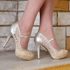 LADIES LACE EMBELLISHED PLATFORM HIGH HEELS MARY JANE PARTY SHOES UK SIZES 3-9