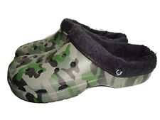 Mens Warm Camouflage Camping Fishing Shoes Slippers Camo Clogs With Fur Lining