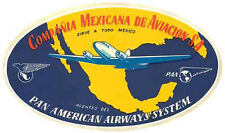 Pan Am Airlines Mexico  Vintage Style  1950's Travel Decal Sticker Luggage Label