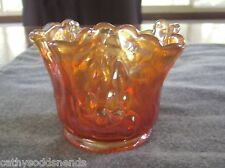 "ANTIQUE FENTON MARIGOLD CARNIVAL GLASS WATERLILY & CATTAILS 3"" VASE WHIMSEY HTF"