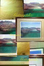 MIL RADLER Vintage Print 1983 Golf 9th Tee NY Par4 SIGNED Glass Framed