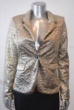89$ Arden B GOLD CHAMPAGNE Blazer Jacket Luxe Collection SINGLE BUTTON FLORAL XS