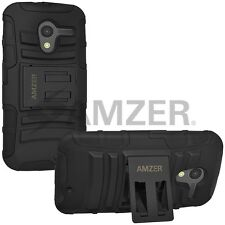 Amzer Silicone + Hard Shell Hybrid Kickstand Case Cover For Moto X XT1052 Black
