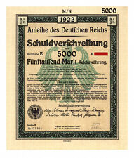 German Government: uncancelled 5,000 Mark Bond 1922, complete with coupons