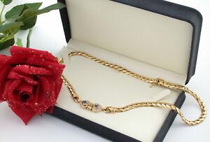 Collier necklace Herz heart Ceylon-Saphir diamond Brillanten Gold 750 0,80ct 73g