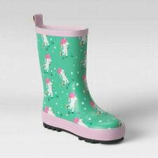 Sun Squad Toddler Girls Waterproof Unicorn Mint Green Rain Garden Boots S 5-6