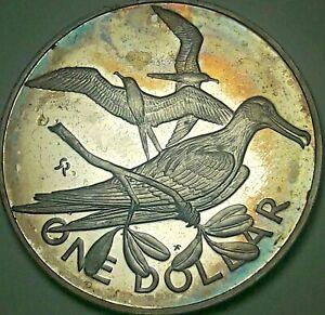 1975 BRITISH VIRGIN ISLANDS 1 DOLLAR SILVER PROOF CAMEO TONED COLOR BU UNC (DR)