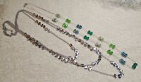 VINTAGE TO NOW BLUE & GREEN GLASS BEADED & MULTI CHAIN SILVER TONE NECKLACE LOT
